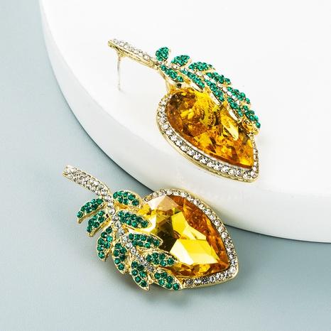 Korean Fashion Personality Leaf Fruit Earrings Water Drop Shaped Glass Diamond Stud Earrings NHLN458343's discount tags