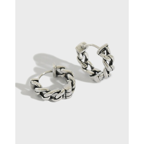 Korean version of S925 sterling silver personality distressed 925 retro chain earrings  NHFH437044's discount tags