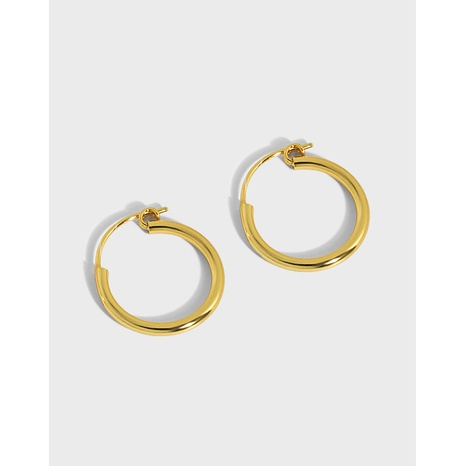 Korean version of ins niche design sense minimalist wild geometric circle glossy texture S925 sterling silver earrings  NHFH437052's discount tags
