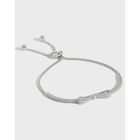 SA123 Korean Silver Jewelry S925 Bowknot Micro-inlaid Zircon Adjusting Bead Bracelet Bracelet NHFH437060's discount tags