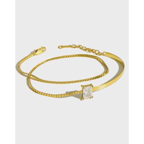 SA170 Korean S925 silver square diamond double-layer bracelet chain decoration wholesale nihaojewelry  NHFH437065's discount tags