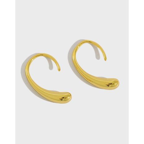 Korean version of S925 sterling silver earrings INS simple curved drop-shaped ear hook earrings temperament wild silver earrings NHFH437069's discount tags