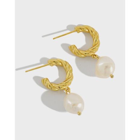 ET297 Korean S925 Sterling Silver Earrings Baroque Pearl Twist Ring Silver Earrings NHFH437073's discount tags