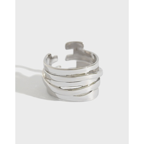 Japan and South Korea S925 sterling silver ring INS style simple multi-layer winding female ring index finger silver ring NHFH437080's discount tags