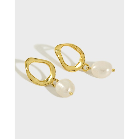ET288 Korean S925 Sterling Silver Simple Freshwater Pearl Baroque Pearl Earrings NHFH437088's discount tags
