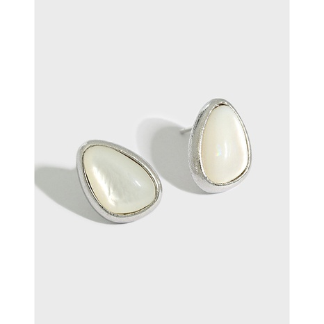 596 Korean version of design sense drop-shaped shell stone S925 sterling silver earrings  NHFH437092's discount tags