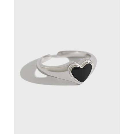 Korean version of S925 sterling silver ring simple and versatile dripping heart opening women's ring silver jewelry NHFH437095's discount tags