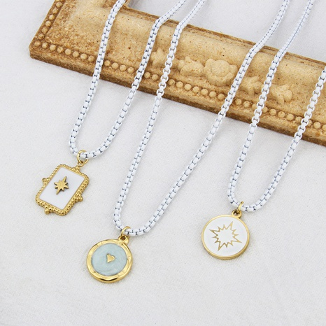 round brand titanium steel eyes starburst combination personality pendant necklace  NHBP437267's discount tags