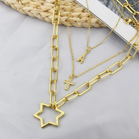 new combination titanium steel necklace diy cross tower tag accessories simple pendant NHBP437294's discount tags