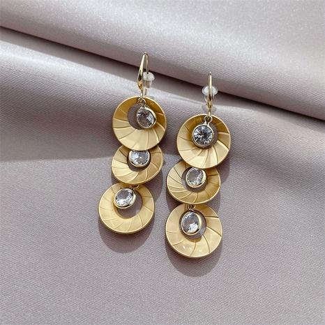 personality ear hook groove round zircon earrings Korean style simple earrings  NHFT437364's discount tags
