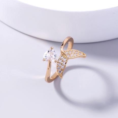 Anillo abierto de cola de pez de circón nuevo amor transfronterizo europeo y americano, joyería de diamantes de sirena de moda, anillo de circón con incrustaciones de cobre NHDB437835's discount tags