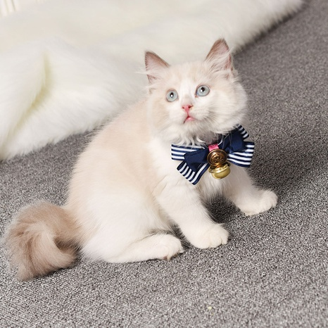 Japanese style bowknot cat collar PU pet cat collar bell bow tie pet supplies NHPSM438178's discount tags