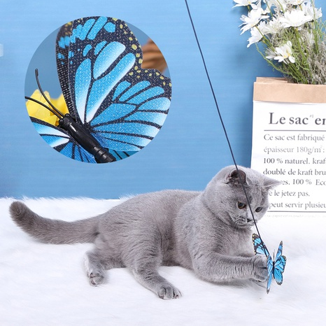 funny cat three-color butterfly bell-style funny cat stick pet supplies cat interactive toy NHPSM438168's discount tags