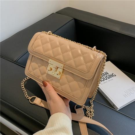 Korean texture messenger bag ins one-shoulder diamond chain small square bag female bag NHRU438623's discount tags