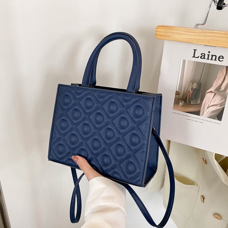 retro solid color handbag fashion shoulder bag casual rhombus embossing messenger bag NHRU438628's discount tags