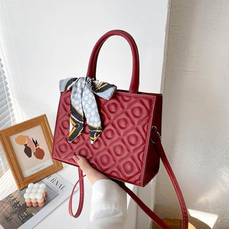 fashion one-shoulder large-capacity handbag silk scarf bowknot pure color casual PU bag NHRU438630's discount tags