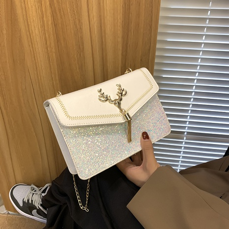 fashion trend tassel bag retro shoulder bag female bag ins sequin diagonal small square bag NHRU438633's discount tags