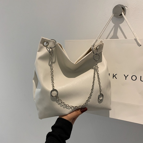 solid color large-capacity soft leather chain decorative shoulder bag NHRU438636's discount tags