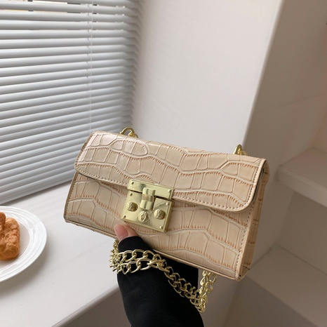 retro candy color chain one-shoulder stone pattern messenger metal buckle small square bag NHRU438645's discount tags