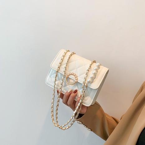 Pearl chain fashion Korean diamond small square messenger bag wholesale Nihaojewelry NHRU438662's discount tags