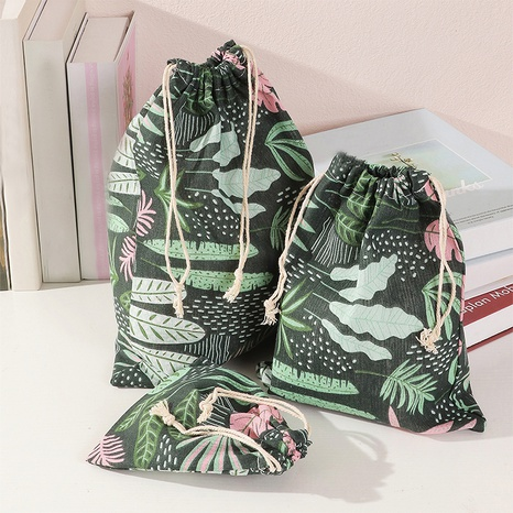 Portable travel cotton and linen drawstring storage bag large medium and small 3-piece set NHNU438827's discount tags