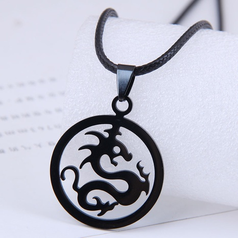 Korean fashion metal simple auspicious Loulong stainless steel personality necklace NHSC438791's discount tags