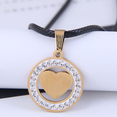Korean Fashion Metal Concise Circle Love Heart Diamond Stainless Steel Personalized Necklace NHSC438790's discount tags