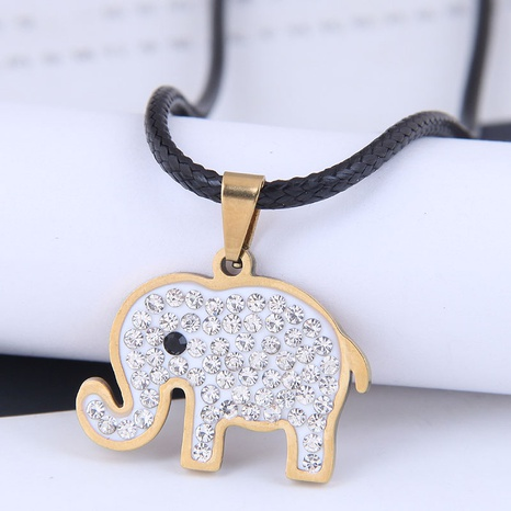 Korean version of fashion metal simple auspicious like diamond necklace stainless steel personality necklace NHSC438789's discount tags