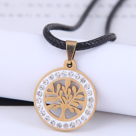 Korean fashion metal simple auspicious tree diamond stainless steel personality necklace NHSC438788's discount tags