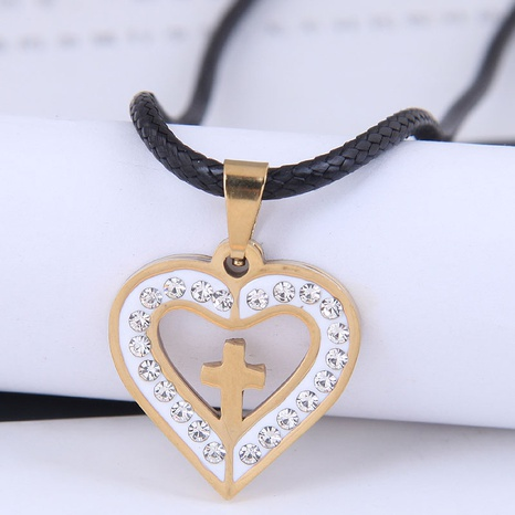 Korean fashion metal simple cross love diamond stainless steel personality necklace NHSC438787's discount tags