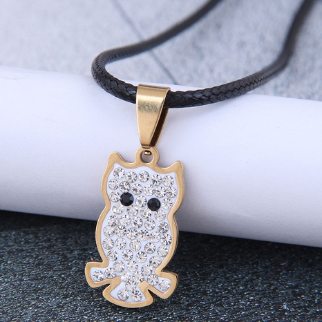 Korean Fashion Metal Simple Owl Diamond Stainless Steel Personalized Necklace NHSC438785's discount tags