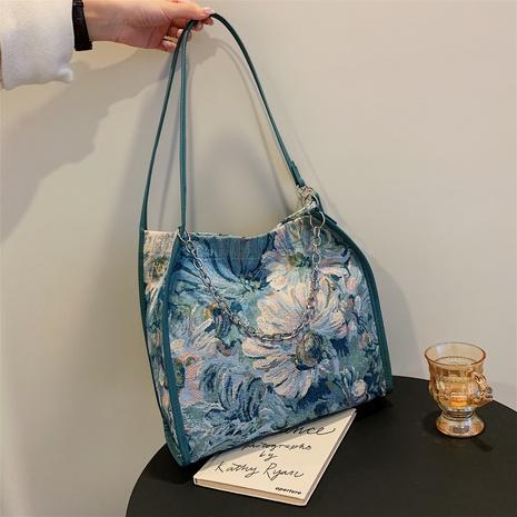 One-shoulder fabric flower handbag fashion handbag NHXC439661's discount tags