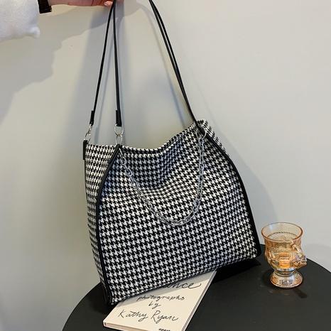 Houndstooth large capacity underarm bag shoulder bag portable female bag NHXC439659's discount tags
