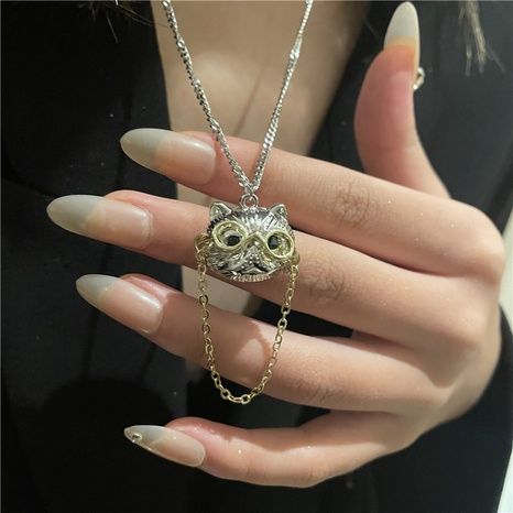 Korean version of the cute cat doctor stainless steel necklace  NHYQ438981's discount tags