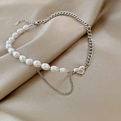 hip hop love titanium steel necklace simple pearl pendant geometric clavicle chain NHGAN439033's discount tags