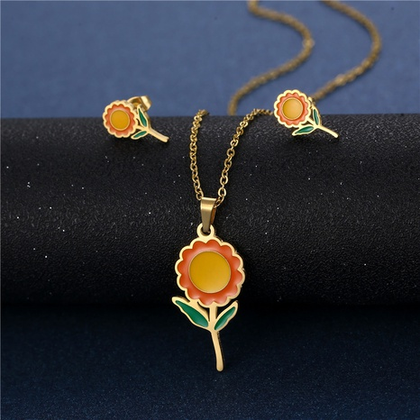 stainless steel sunflower necklace earrings set sunflower pendant golden sunflower clavicle chain three-piece NHAC439406's discount tags