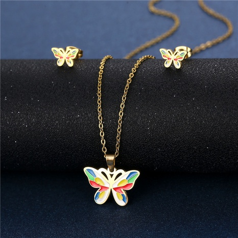 colorful glaze dripping color butterfly necklace earrings set stainless steel three-piece set NHAC439407's discount tags
