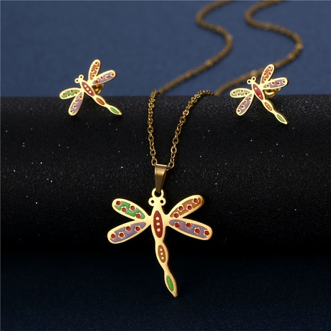 Enamel color dripping oil dragonfly necklace earrings set stainless steel three-piece set NHAC439408's discount tags