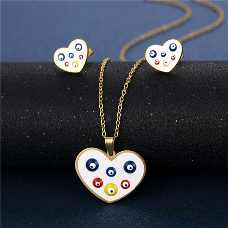 necklace evil eyes necklace earrings set Turkish style heart-shaped jewelry accessories  NHAC439409's discount tags