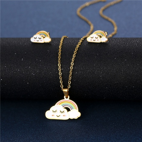 dripping cloud color smiley cartoon necklace earrings set stainless steel white cloud rainbow pendant  NHAC439410's discount tags
