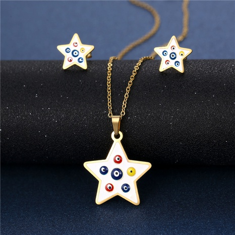 Stainless steel enamel drip oil five-pointed star necklace earring set  NHAC439411's discount tags