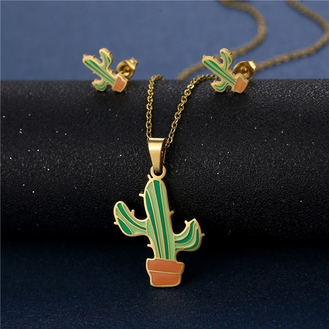 Cactus Necklace Earrings Set Stainless Steel Dripping Pendant NHAC439412's discount tags