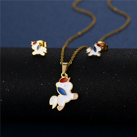 cute unicorn necklace earrings three-piece 18K gold-plated color dripping stainless steel suit NHAC439413's discount tags