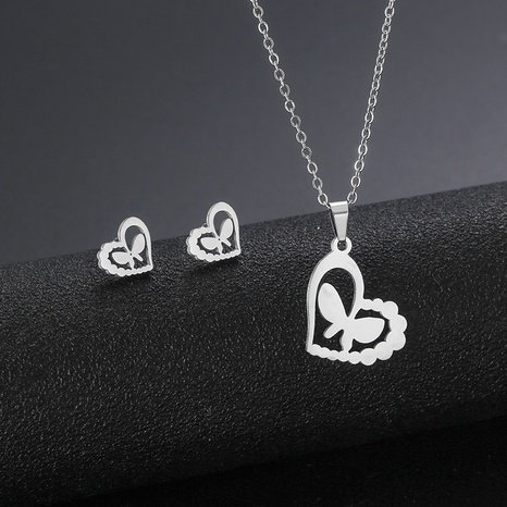 Stainless steel love butterfly pendant necklace earrings set heart clavicle chain NHAC439414's discount tags