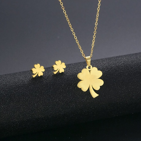 Fashion four-leaf clover necklace earrings set 18K gold simple stainless steel four-leaf clover necklace NHAC439415's discount tags