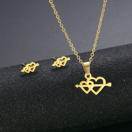 Stainless steel one arrow pierced necklace earrings set heart-shaped sweater chain necklace three-piece set NHAC439416's discount tags