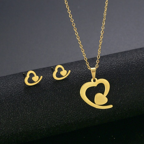 new love necklace earringssuit stainless steel small peach heart 18K gold-plated suit jewelry NHAC439417's discount tags