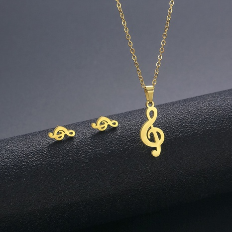 Fashion Stainless Steel Clavicle Note Necklace Earrings Set Wholesale NHAC439418's discount tags