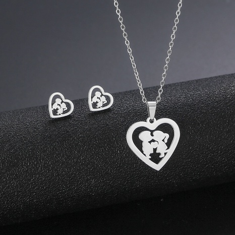 stainless steel heart-shaped kissing accessories love boy and girl necklace earrings set NHAC439422's discount tags