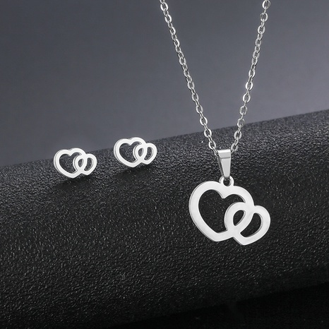 stainless steel heart-shaped pendant earrings set double love necklace clavicle chain NHAC439423's discount tags